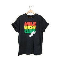 Vintage MILE HIGH CLUB tshirt black thin tee shirt Nike Grunge Punk coed unisex Faded Black Worn In shirt Mens Womens Sports Sporty Large Xl