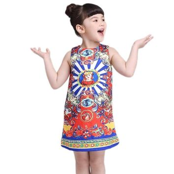 Princess Dresses Summer Bohemian Girl Dress with Print Children Clothing