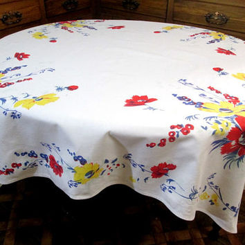 Vintage Tablecloth Wilendur Cosmos 1940's Printed Primary Floral Table Cloth Vintage Kitchen Dining Table Linens Cotton Sailcloth