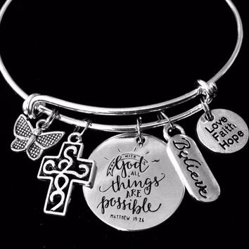 Believe Love Faith Hope With God All Things are Possible Jewelry Adjustable Bracelet Expandable Charm Silver Bangle One Size Fits All Gift