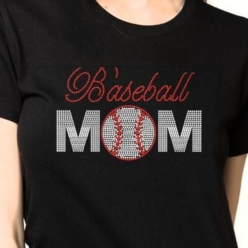 Women's Baseball Rhinestones Bling Cotton Shirt