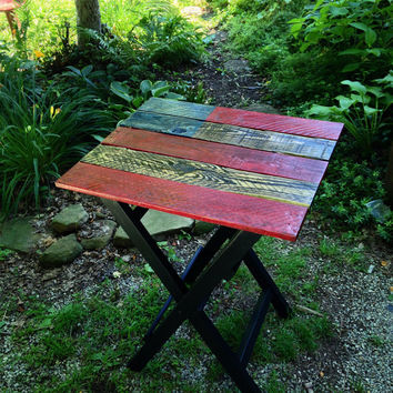 American Flag Pallet Side Table