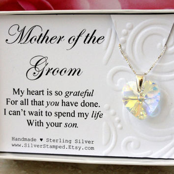 Mother of the groom gift from Bride, Sterling silver heart necklace with Swarovski crystal heart in a box gift for future mother in law