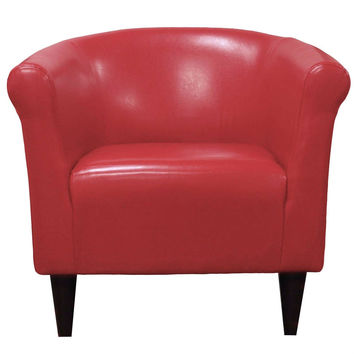 Red Faux Leather Barrel Style Club Chair with Tapered Legs