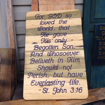 Easter St. John 3:16 Christian Bible Quote Carved in Recycled Wood Sign Wall Plaque For God So Loved The World