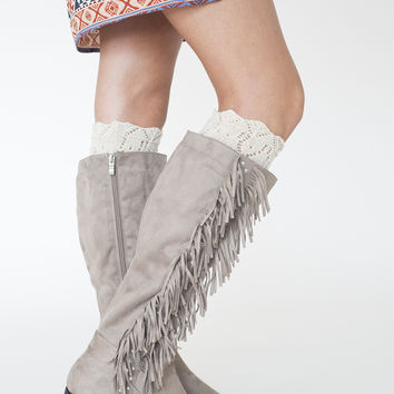 Taupe Fringe Boot