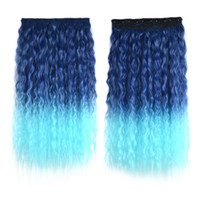Colorful Corn Hot 5 Cards Hair Extension Wig     dark blue sky blue