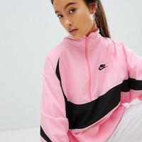 Nike Vaporwave Half Zip Track Jacket In Pink With Large Swoosh at asos.com