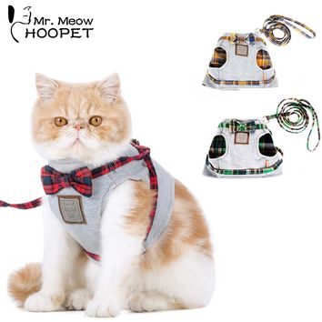 Hoopet Cat Dog Collar Harness Leash Adjustable Nylon Soft Breathable Air Nylon Mesh Puppy Dog Pet Cat Harness and Leash Set