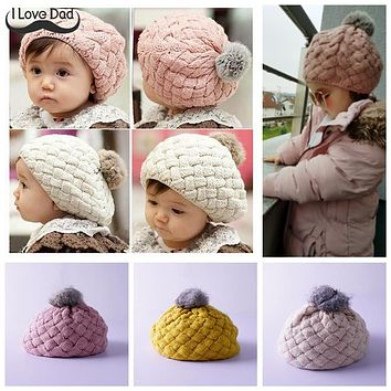 Winter Baby Skullies Beanie Warm Cotton Kids Bonnet Hat Faux Rabbit Fur Knit Crochet Girl Boy Beret Cap For 0-3 years old