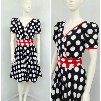 Vintage 80s Does 50s Black and White Polka Dot Dress, Puff Sleeve Dress, Circle Skirt Dress, Rockabilly Dress, Midi Dress, Tea Length Dress