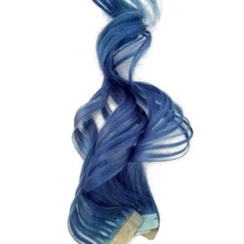 Colorful Rainbow Deep Denim Blue Tape in Human Hair Extensions for Highlights