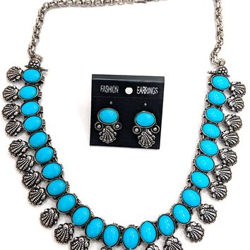 Oxidized color stone choker Necklace and Earring set