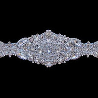 Vintage inspired bridal jewelry art deco wedding Dress Gown Beaded Jeweled Crystal Belt Sash