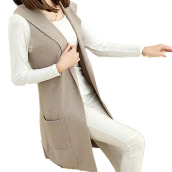 Cashmere wool blend Hooded Sweater Vest And Long Sections Knitted Cardigan Sleeveless Casual Dress Women Authentic Free Shipping