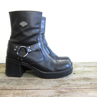 Vintage black leather Harley Davidson biker boots. harness ankle boots. womens 9 - 9.5