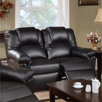 Bonded Leather Recliner Loveseat Black