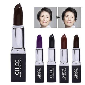 Hair Dye Hair Disposable Coloring Lipstick Fast Temporary Hair Dye Black Brown Cover White Hair Portable Care Tool A4