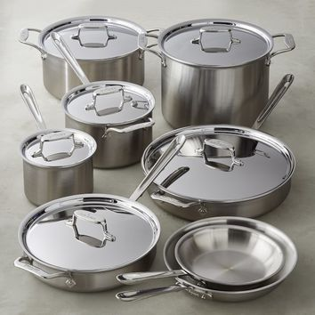 All-Clad d5 Brushed Stainless-Steel 14-Piece Cookware Set