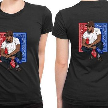 DCCKL83 Kendrick Lamar Red And Blue Poster 2 Sided Womens T Shirt