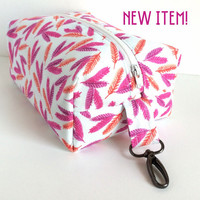 Boxy Cosmetic Bag, Large Cosmetic Bag, Large Makeup Bag, Feather Makeup Bag, Large Zipper Bag, Large Travel Pouch, Toiletry Bag