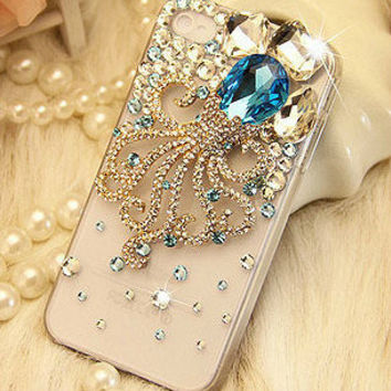 Gemstone Octopus DIY phone case set  DIY cell phone case deco kit (Phone Case not Included)