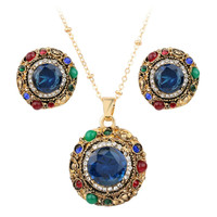 Round Ancient Gold Plated Sultana Style Necklace & Earring Set