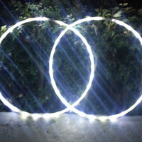 All White 5/8 LED Mini hoops, set of 2, super bright twins / doubles