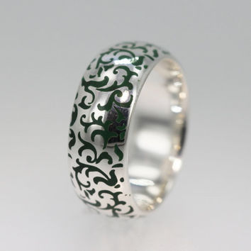Gold Wedding Band with carved pattern and filled with Green colored Enamel OOAK
