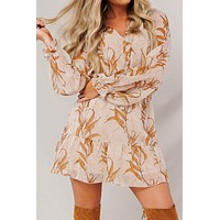 All My Life Printed Long Sleeve Dress (Taupe/Mustard)