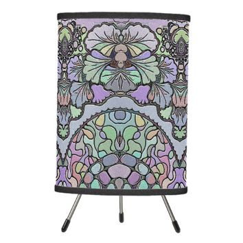 Old world purple pansy tile print lamp