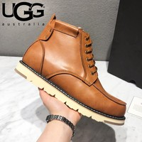 UGG Autumn Winter Popular Men Fashion Leather Wool Snow Boots Shoes Brown