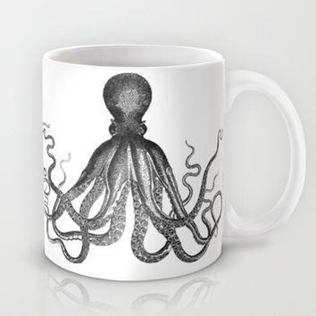 Antique Nautical Steampunk Octopus Vintage Victorian Kraken sea monster emo goth drawing Mug by iGallery