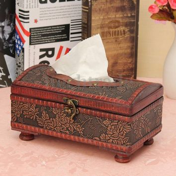 21x12x10.5CM Elegant Crafted Wooden Antique Handmade Tissue Box Tissue Paper Holder Home Decor Flowers/Plaid Patterns