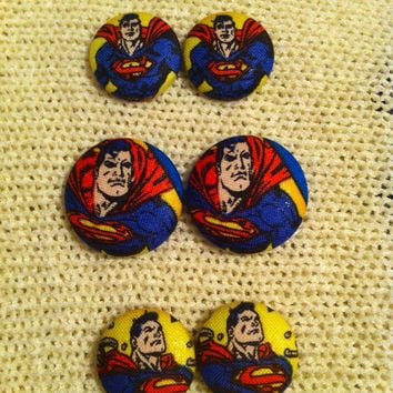 Superman Supergirl Earrings, Fabric Button Earrings, Superhero Jewelry, Cosplay Earrings, Man of Steel