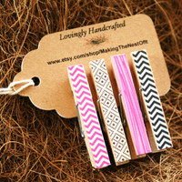 Pink Black Mini Clothespin Clips - Valentines Patterned