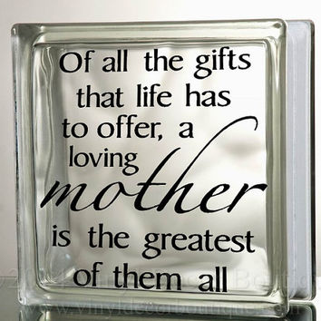 Mother's Love Glass Block Decal Tile Mirrors DIY Decal for Glass Blocks Mother's Love