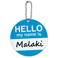 Malaki Hello My Name Is Round ID Card Luggage Tag