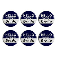 Brady Hello My Name Is Plastic Resin Button Set of 6