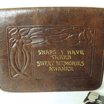 1930s Leather Card Case, Tooled Leather Wallet, Small Bill Fold, Photograph Holder, Arden Forest, British Vintage Gift for Male or Female