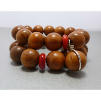 Beaded Bracelet Set. Bayong Wood With Coral