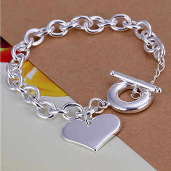 For Women Silver Plated Jewelry Toggle Clasps Charm Bracelets Trendy Heart Design Link Chain Bracelet SM6