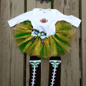 Green Bay Packers Baby Girl Outfit - FREE SHIPPING - Long Sleeve Onesuit - Headband - Leg Warmers - 3-9 months