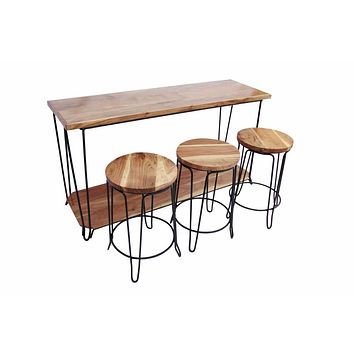 4 Piece Bar Dining Set/ Rectangular Table With 3 Round Stools, Brown And Black By The Urban Port