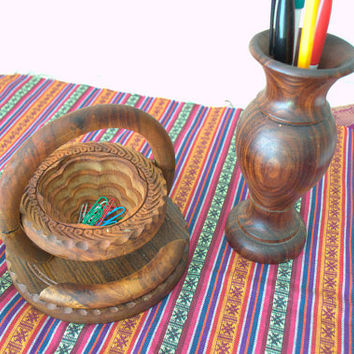 Modern Turned Wood Vase, Boho Wooden Vase, Small Indian Basket, Boho Desk Decor, Wooden Desk Accessories
