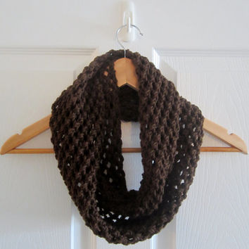 Dark Brown Scarf - Brown Infinity Scarf - Open Knit Scarf - Chocolate Brown Scarf - Soft Scarf - Hand Knitted Scarf - Autumn Scarf - Acrylic