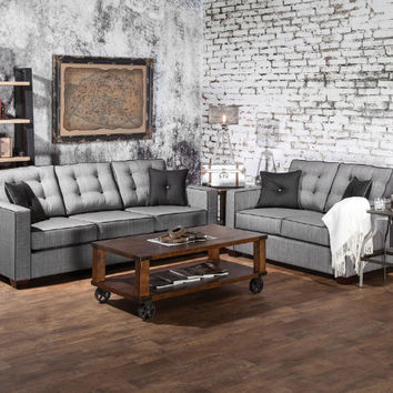 Furniture of america SM8801 2 pc ravel I gray fabric sofa and love seat set with square arms