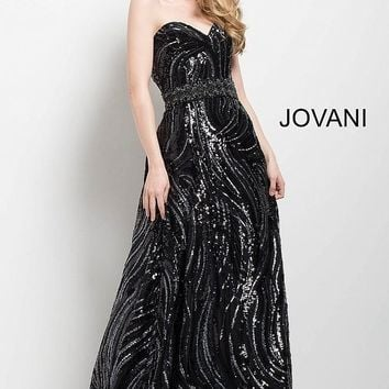 Jovani 36610 Embellished Strapless A-Line Evening Gown