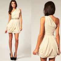 Chiffon manual bead One-shoulder dress