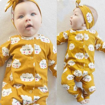 New 2017 fashion Newborn baby girl clothes White Cloud Long Baby Romper Jumpsuit+Headband 2pcs/suit Outfits Infant clothing set